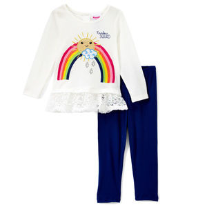 NWT Nannette Rainbow Baby Girls Outfit Set